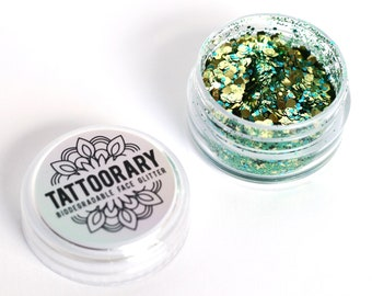 Biodegradable chunky face glitter in 'Golden Forest' / Gold, blue and green biodegradable face glitter / cosmetic grade face glitter