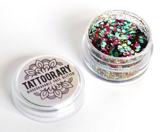 Biodegradable chunky face glitter in 'Disco' / bio glitter mix / Gold Pink and Blue biodegradable face glitter / cosmetic grade face glitter