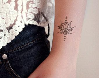 2dd4fdd82 Lotus temporary tattoo / boho tattoo / bohemian tattoo / boho jewelry /  henna tattoo / henna style tattoo / bohemian gift / festival tattoo