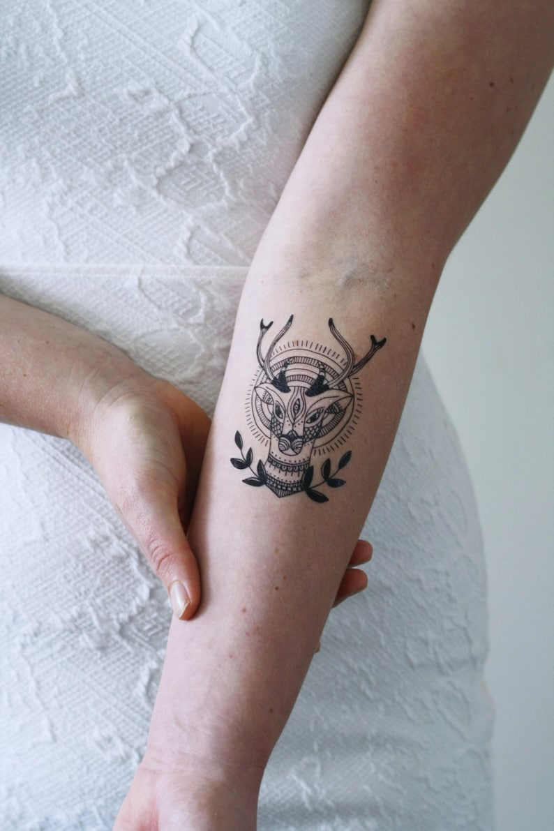 582a6cc3d Deer tattoo / deer temporary tattoo / Hipster temporary tattoo | Etsy