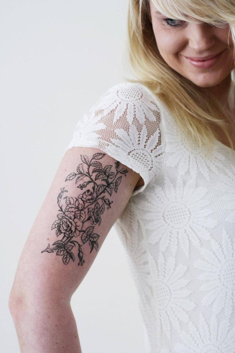 Large floral temporary tattoo / flower temporary tattoo / boho image 0