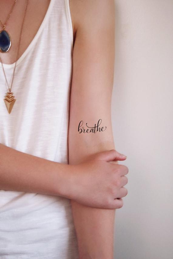 Atmen Sie Temporäres Tattoo Tätowierung Wort Kleine Etsy