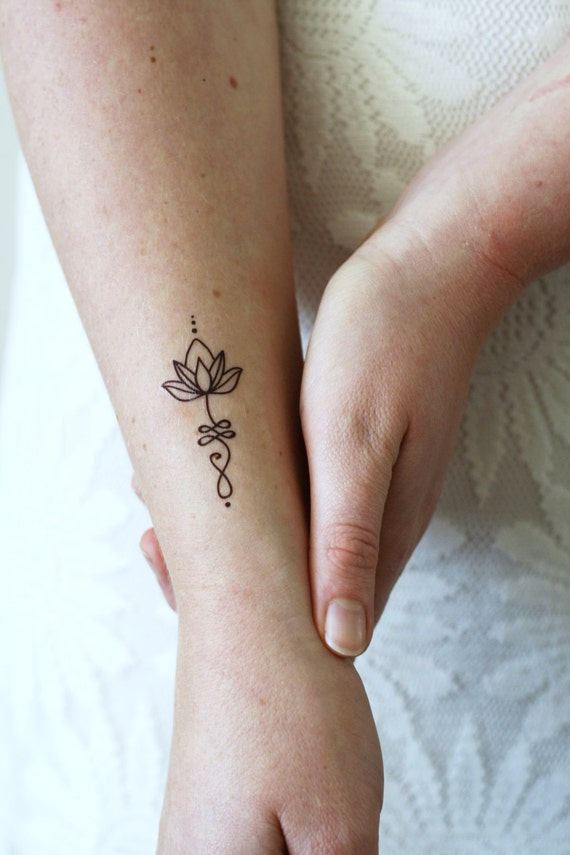Unalome Lotus Temporary Tattoo Set Of Two Bohemian Temporary Tattoo Unalome Tattoo Lotus Tattoo Lotus Fake Tattoo Boho Gift Idea