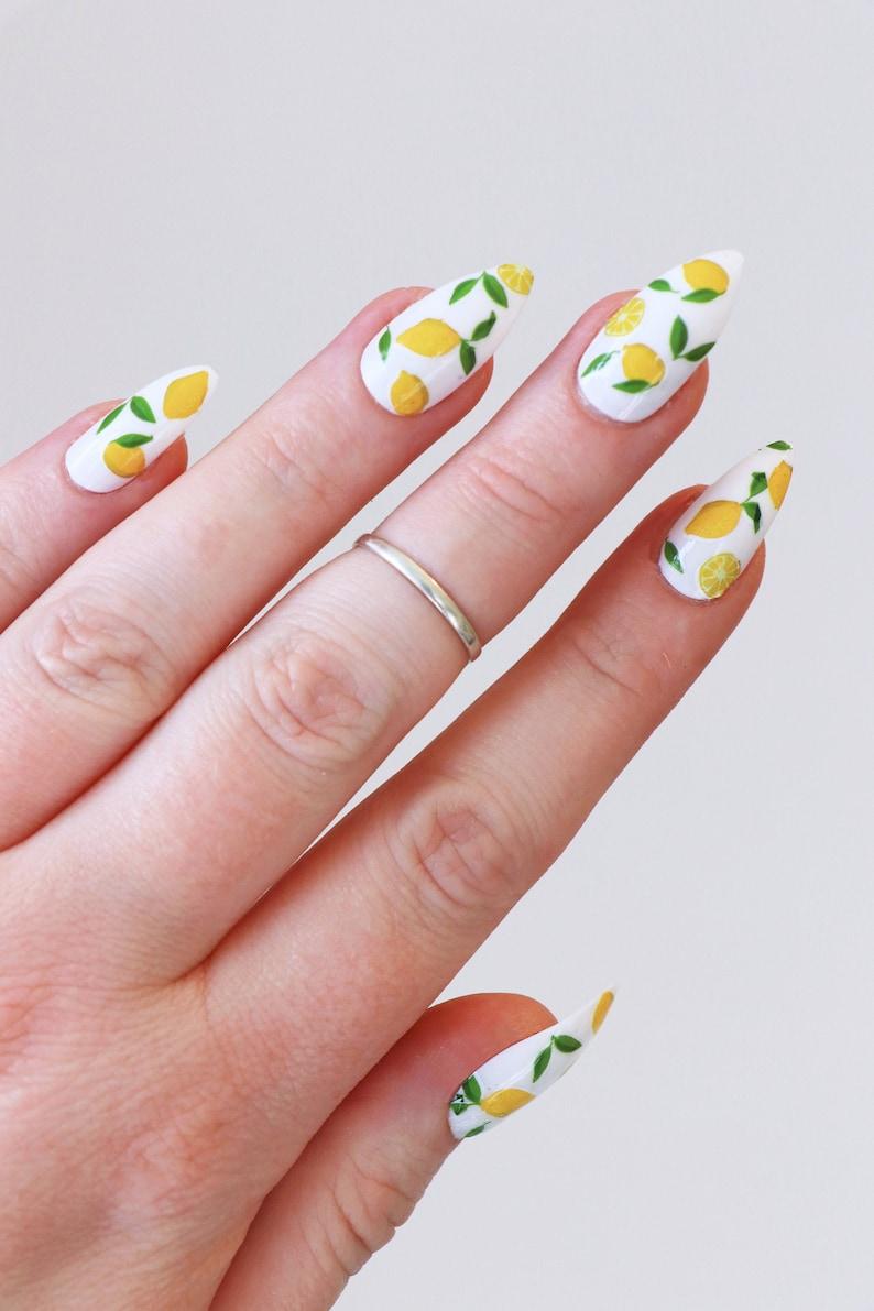 Lemon nail tattoos / lemon nail decals / nail art / lemon image 0
