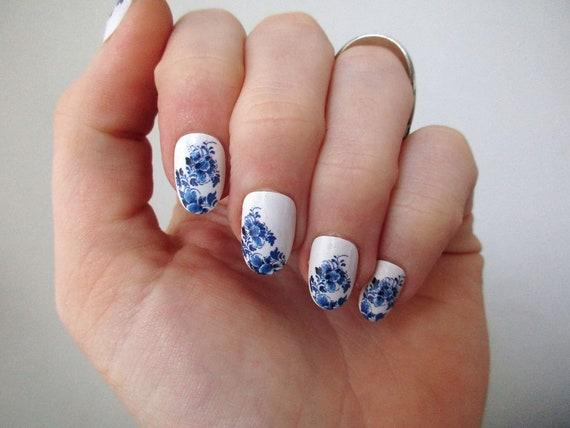 Delft Blue Nail Tattoos Nail Decals Nail Art Boho Nails Etsy