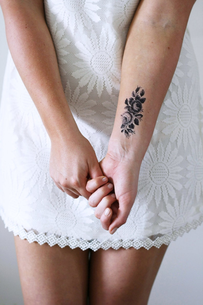 ccb0c1b59 Small rose temporary tattoo / small temporary tattoo / floral   Etsy