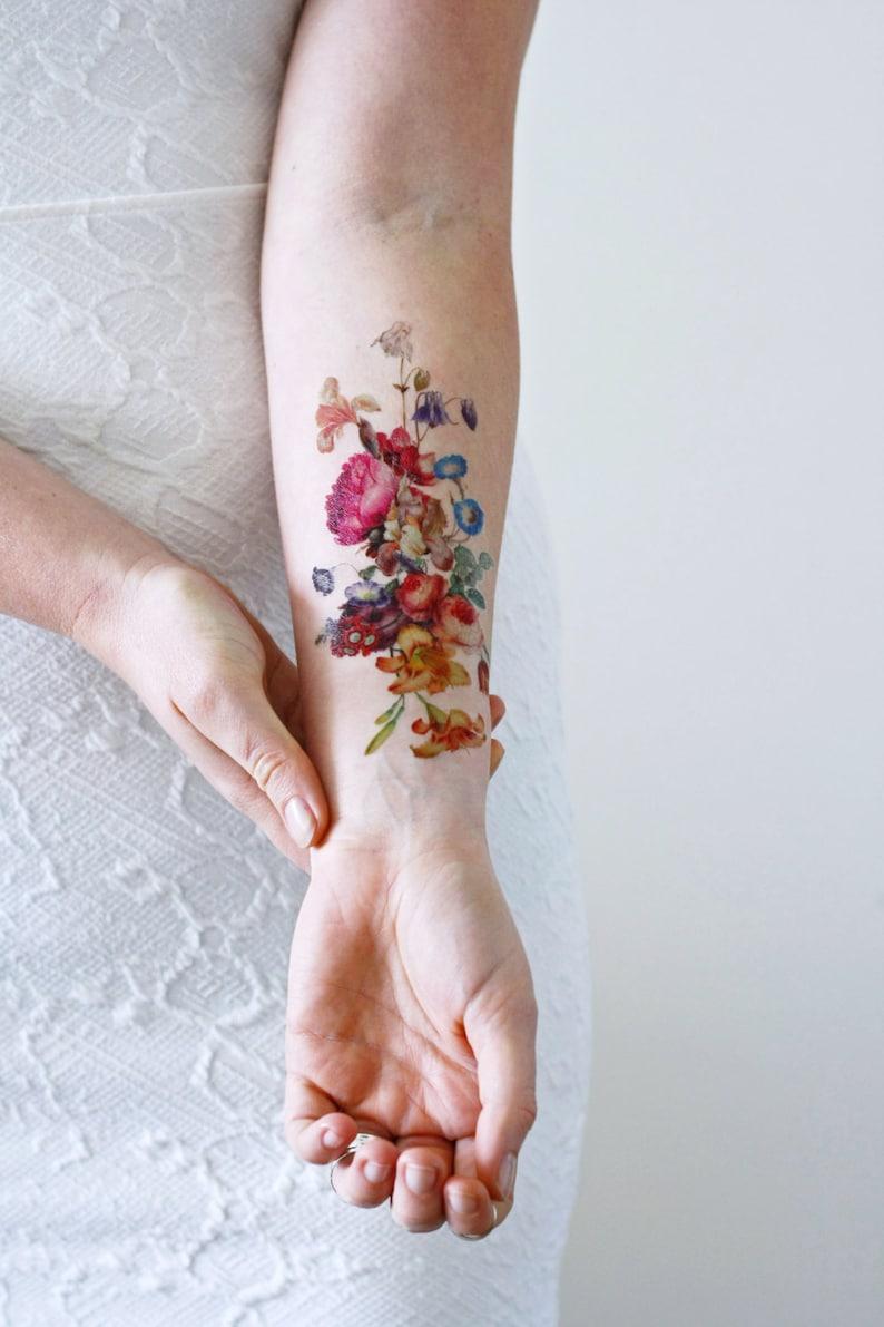 Vintage floral temporary tattoo / boho temporary tattoo / image 3