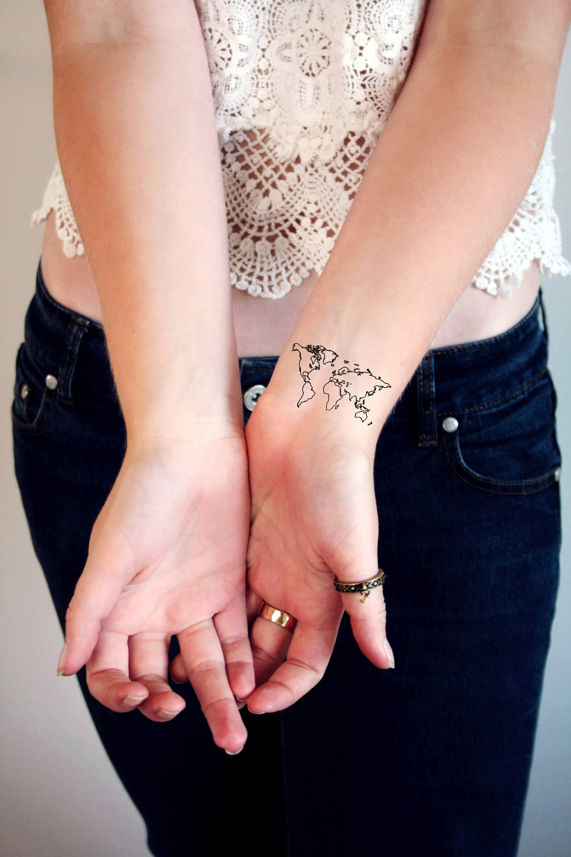 Cartina Mondo Tatuaggio.Mappa Del Mondo Tatuaggi Temporanei Tatuaggio Mondiale Etsy