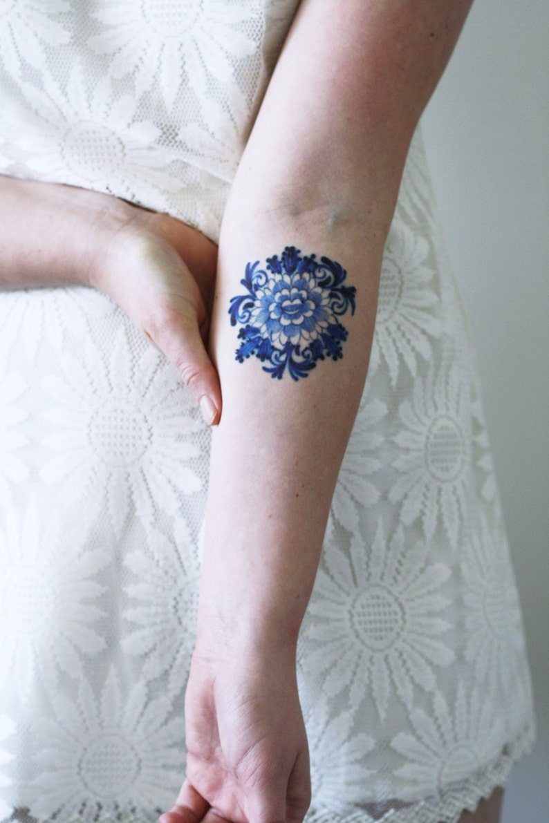 Delft Blue temporary tattoo / floral temporary tattoo / flower image 0