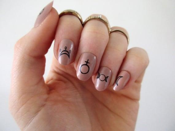 Witch Nail Tattoos Nail Decals Nail Art Boho Nails Etsy