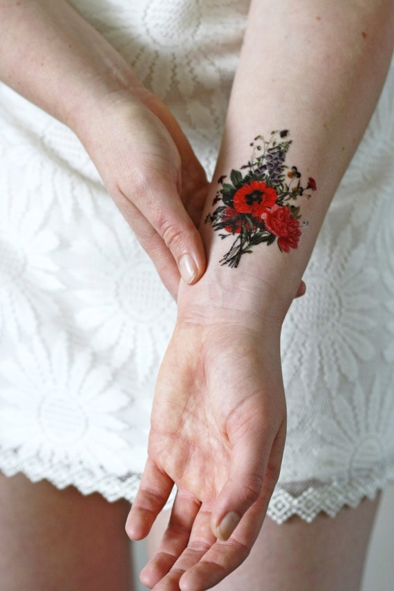 Floral vintage temporary tattoo floral temporary tattoo for Floral temporary tattoos