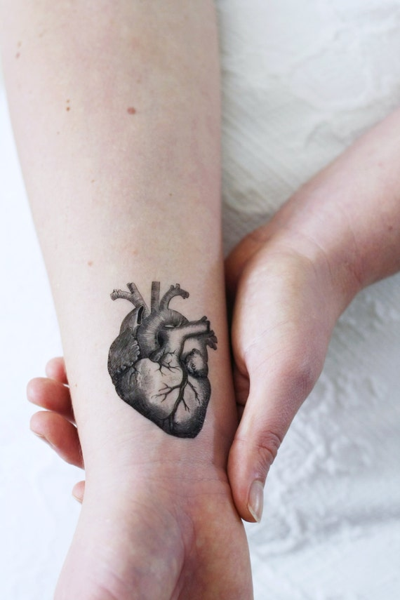 human heart temporary tattoo | etsy