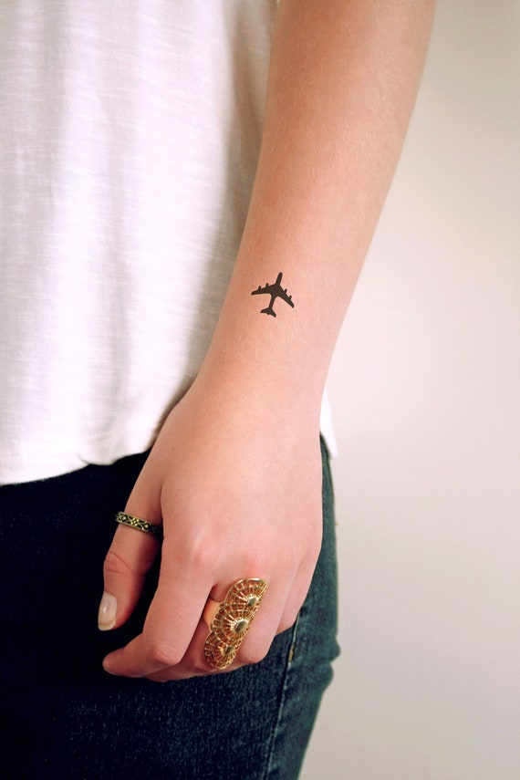 Plane Temporary Tattoo Small Temporary Tattoo Travel Etsy