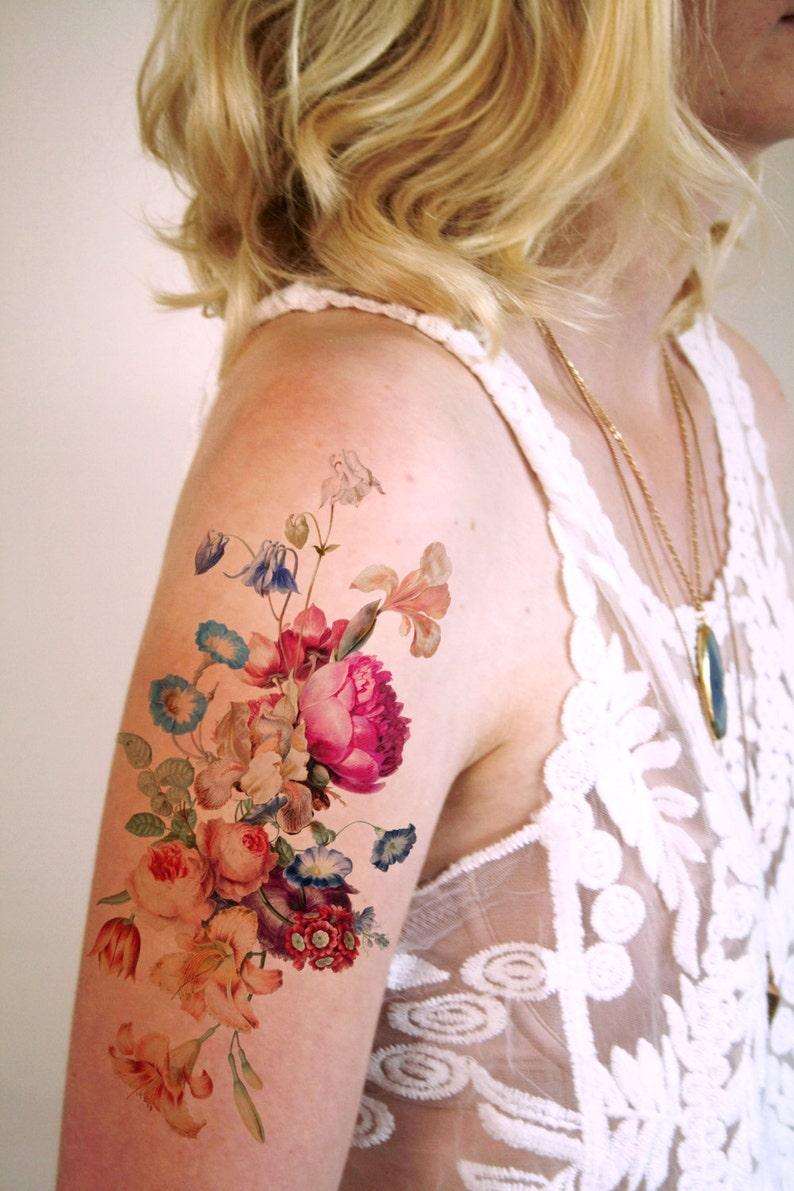 Vintage floral temporary tattoo / boho temporary tattoo / image 0