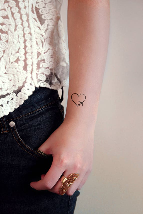 Serce Z Samolotem Tymczasowy Tatuażmały Tymczasowy Tatuażpodróże Tymczasowe Tatuażesamolot Tatuażlove Samolot Tattootraveler Gift