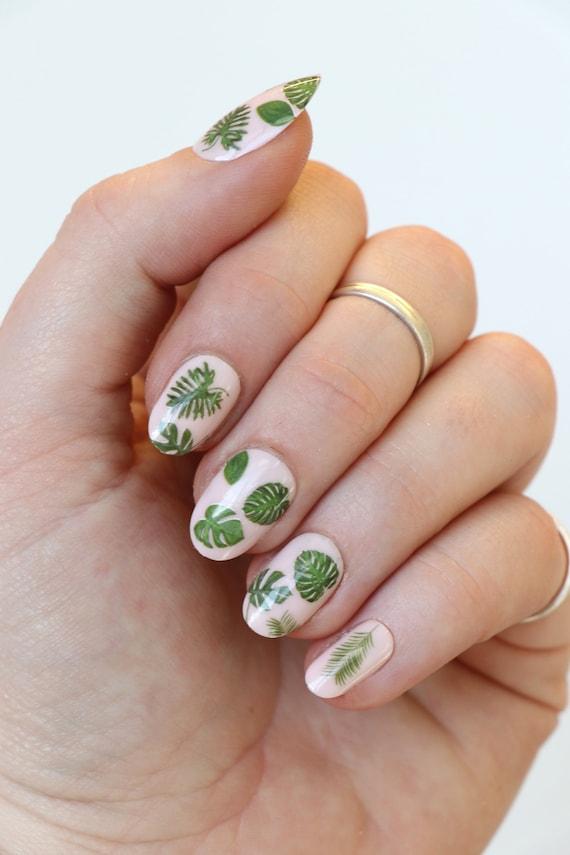 Leaf Nail Tattoos Leaf Nail Decals Nail Art Boho Nails Etsy