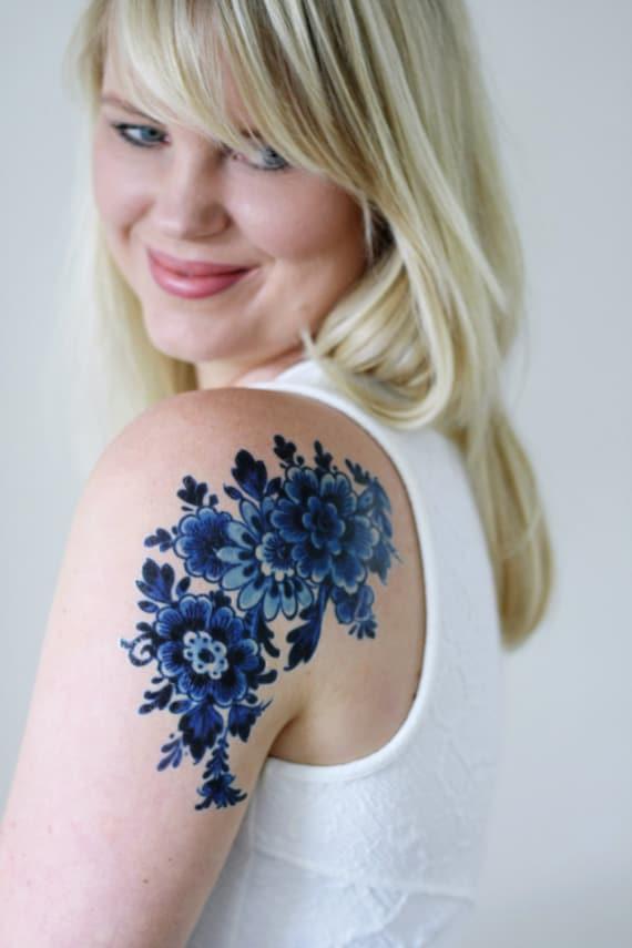 Dutch Delft Blue Temporary Tattoo Floral Temporary Tattoo Flower Temporary Tattoo Boho Gift Idea Something Blue Wedding Bohemian