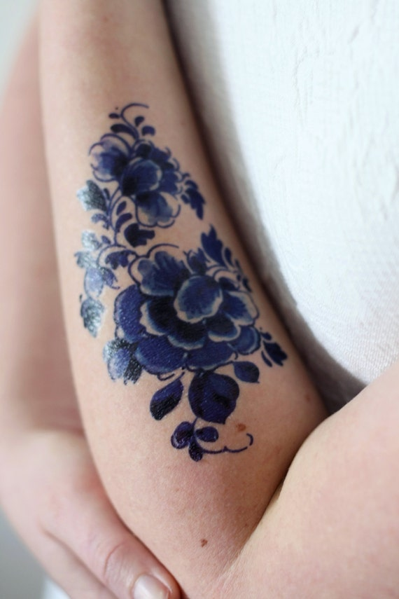 Floral Temporary Tattoo Delft Blue Temporary Tattoo Flower Temporary Tattoo Boho Gift Something Blue Wedding Festival Accessoire