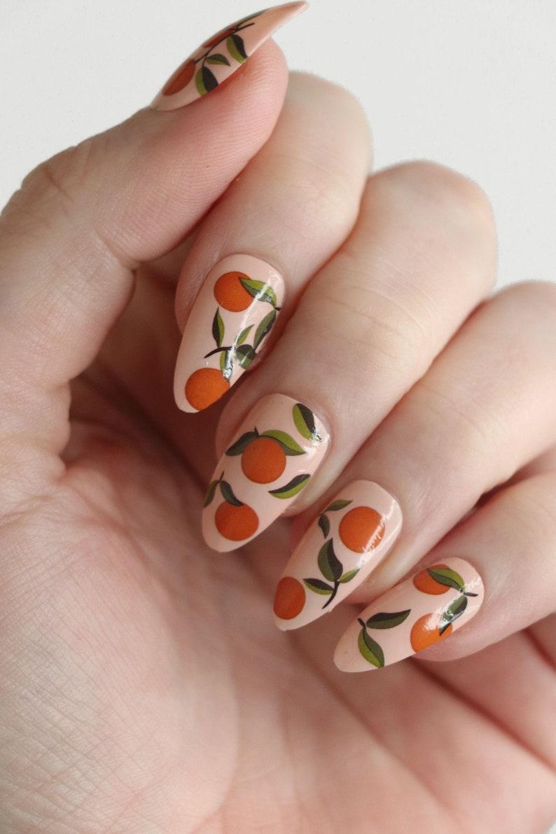Oranges nail tattoos / orange nail decals / nail art / oranges image 0