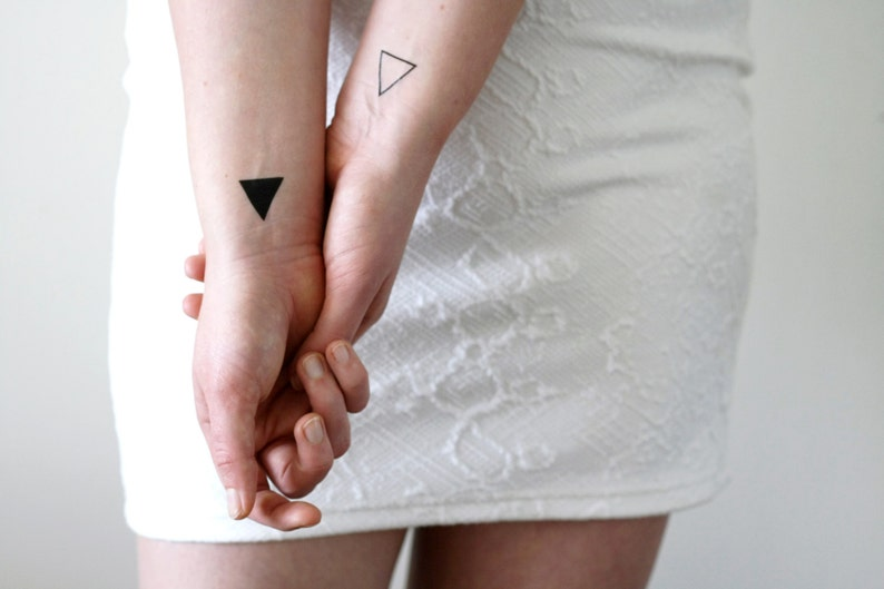 4 small triangle temporary tattoos / small temporary tattoo / image 0