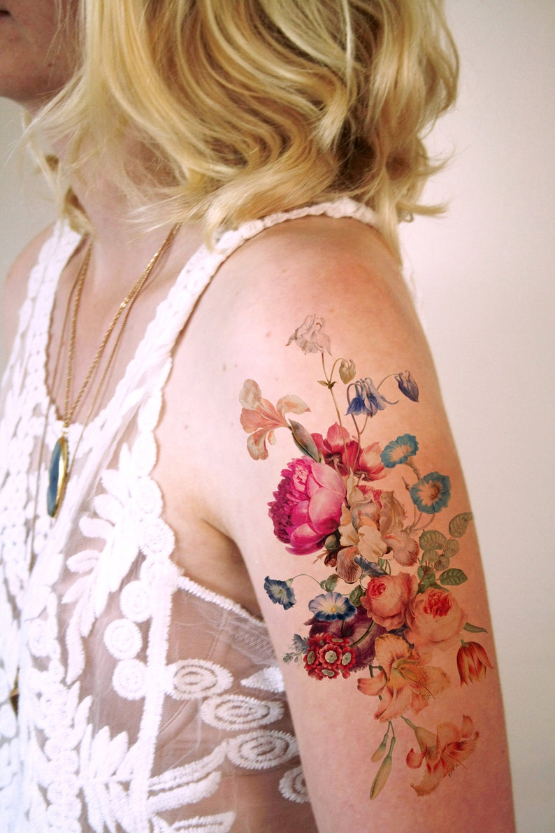 Vintage floral temporary tattoo / boho temporary tattoo / image 0