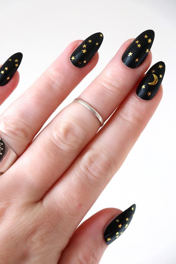Moon And Stars Nail Tattoos Gold Nail Decals Nail Art Etsy