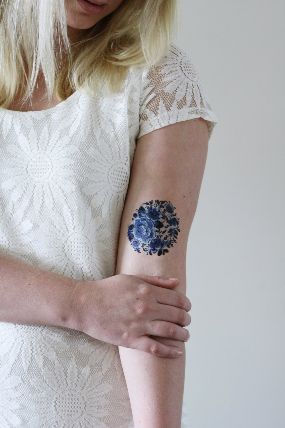 Delft Blue Temporary Tattoo Floral Temporary Tattoo Flower Etsy
