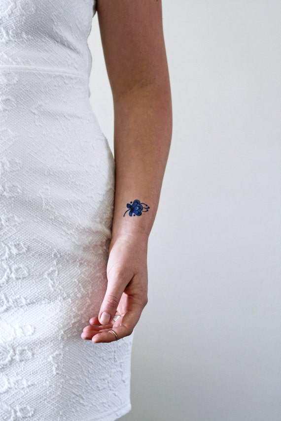 2 Small Delft Blue Temporary Tattoos Small Temporary Tattoo Floral Temporary Tattoos Something Blue Wedding Blue Temporary Tattoo