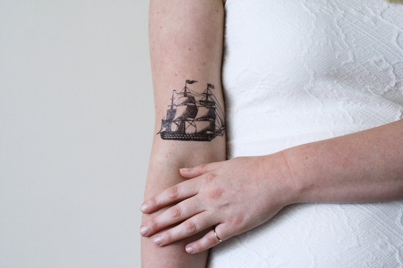 e5d9c43f6 Ship temporary tattoo / vintage temporary tattoo / boat | Etsy