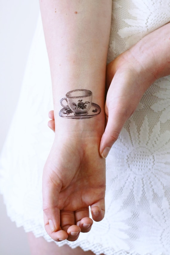 Small teacup temporary tattoo / tea temporary tattoo / tea | Etsy