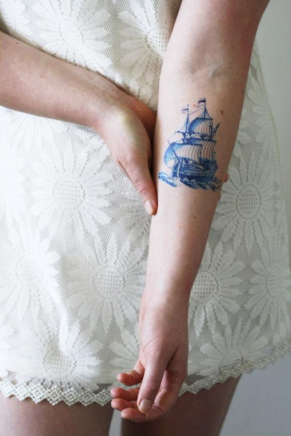 Delft Blue Ship Temporary Tattoo Delft Blue Temporary Tattoo Boat Temporary Tattoo Sailor Temporary Tattoo Something Blue Wedding