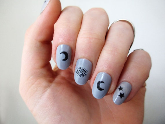 image 0 - Moon Stars And Eyes Nail Tattoos / Nail Decals / Nail Art / Etsy