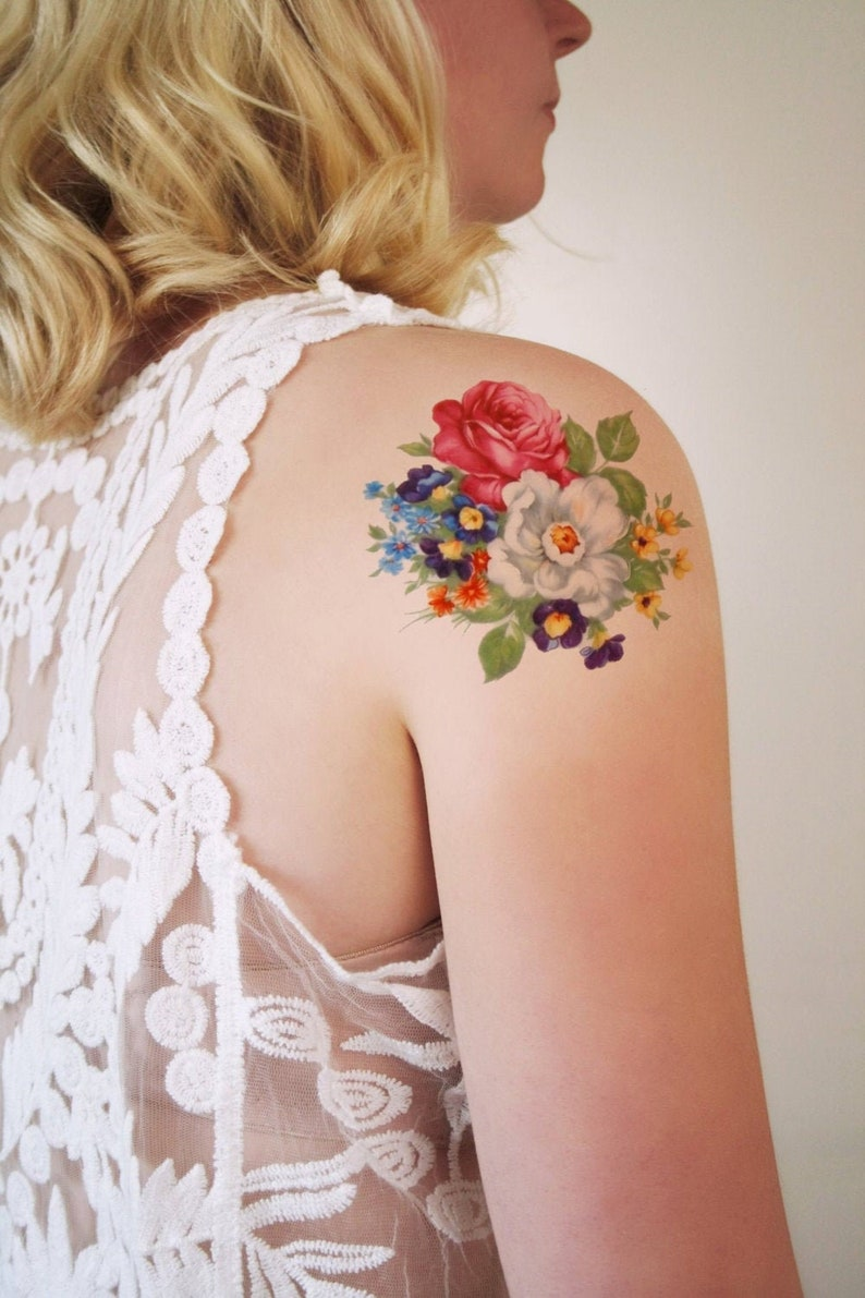 Round floral temporary tattoo / bohemian temporary tattoo / image 0
