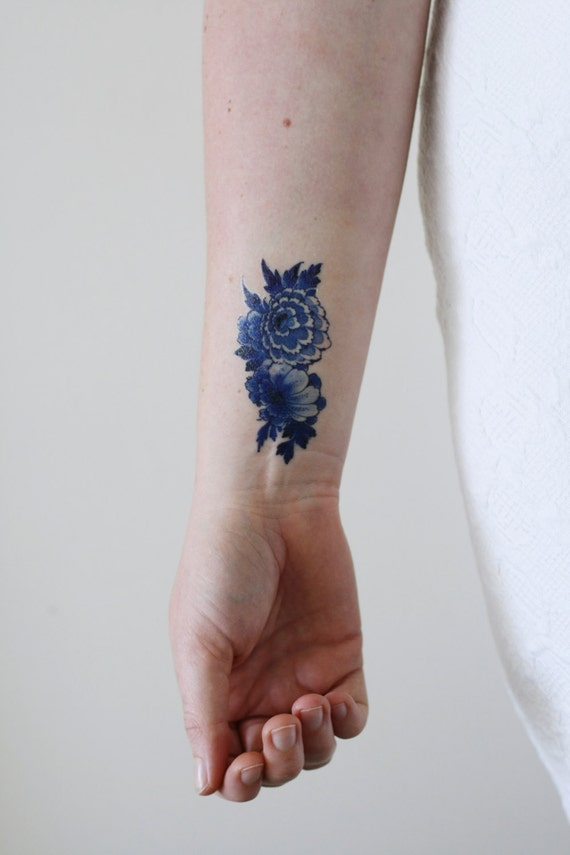 Delft Blue Temporary Tattoo Floral Temporary Tattoo Something Blue Bohemian Temporary Tattoo Festival Accessoire Festival Tattoo