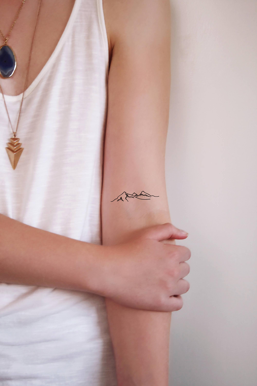 Set of two mountain temporary tattoos / mountain tattoo / | Etsy