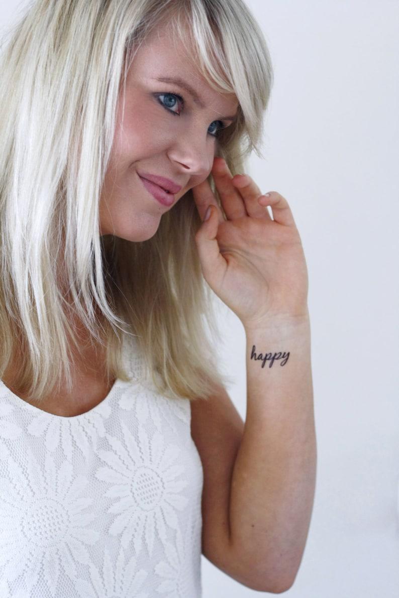 Happy temporary tattoo set / typography temporary tattoo / image 0
