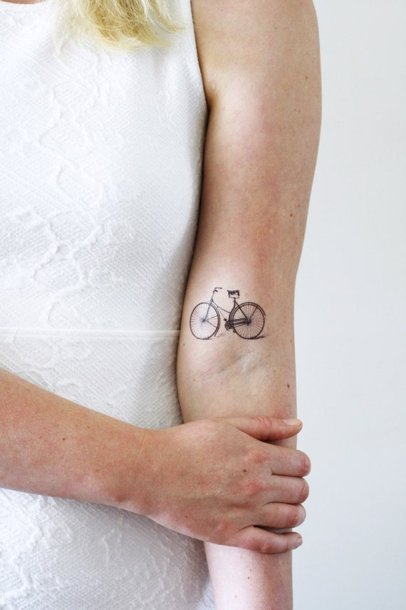 82ccbb19fbe63 Vintage bicycle temporary tattoo / bike temporary tattoo / | Etsy
