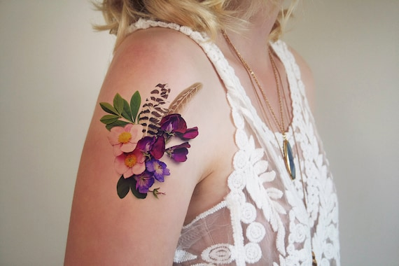 Floral Temporary Tattoo Floral Tattoo Flower Tattoo Boho Etsy