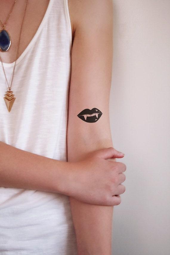 Vampire Zęby Tymczasowy Tatuażeusta Tattoosmall Tymczasowy Tatuażhalloween Tattoovampire Tymczasowy Tatuaż