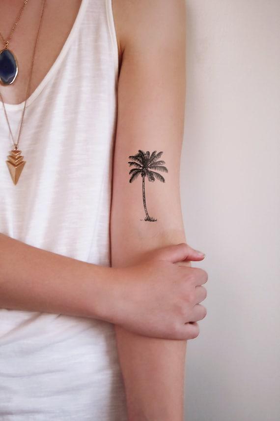 Palm Boom Tatouage Palm Tattoo Beach Tattoo Vakantie Tattoo Boho Tattoo Boho Tijdelijke Tattoo Boho Cadeau Festival