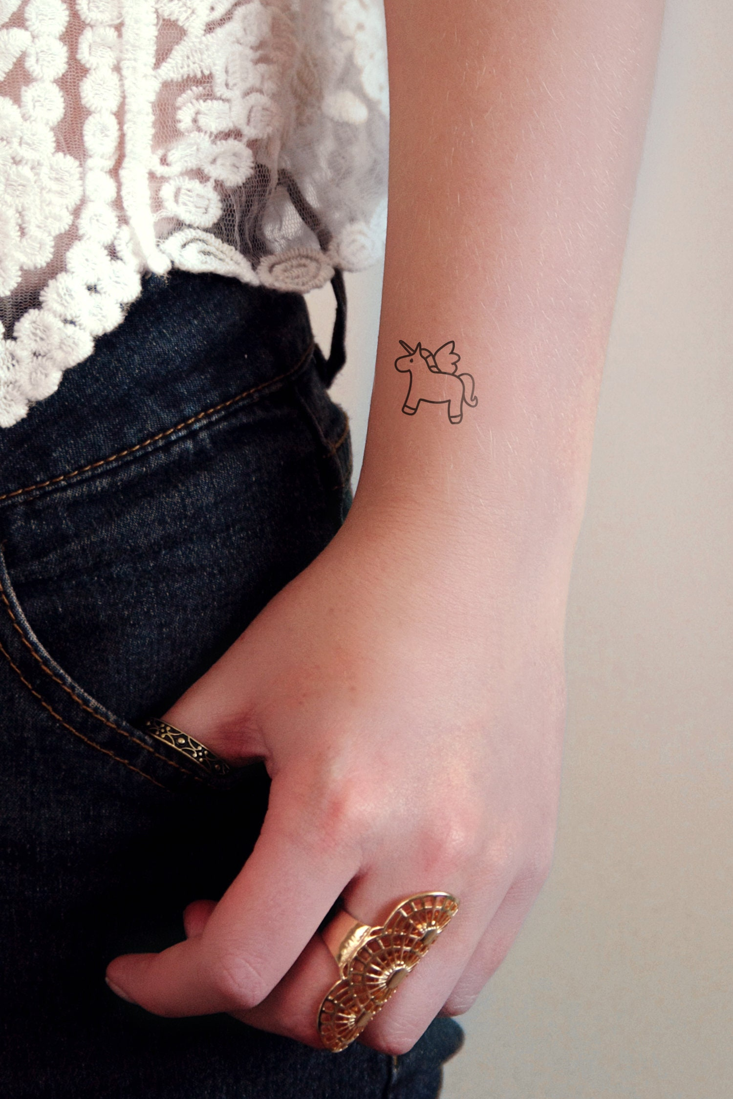 Set of two unicorn temporary tattoos / unicorn tattoo / small | Etsy
