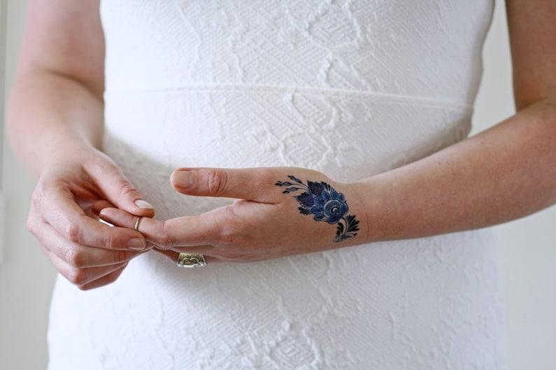 Delft Blue flower temporary tattoo / delft blue temporary image 0