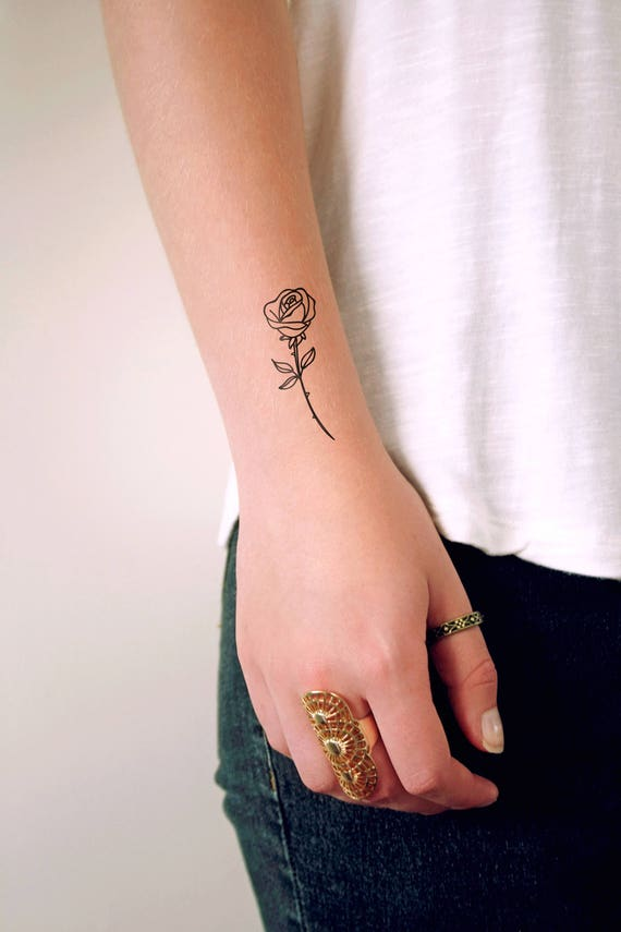 Small Rose Temporary Tattoo Small Temporary Tattoo Floral Etsy