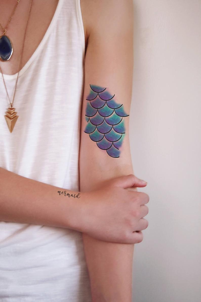 Mermaid scales temporary tattoo / mermaid temporary tattoo / image 0
