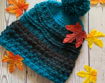 Black and Turquoise Ombré Hat