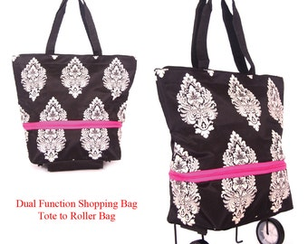 Shopping Bag on Wheels From Tote to a Roller Bag with Free Luggage/id Tag and a Scarf by ABLAEGON