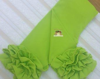 Lime Green ruffle Capris, Green ruffle pants, Green leggings for baby, Lime green Capris for babies