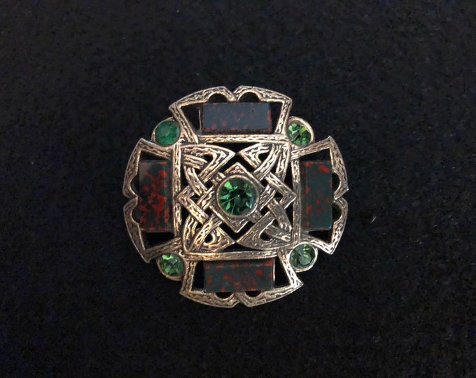 Imported Multicolored Agate and Crystal Celtic Brooch