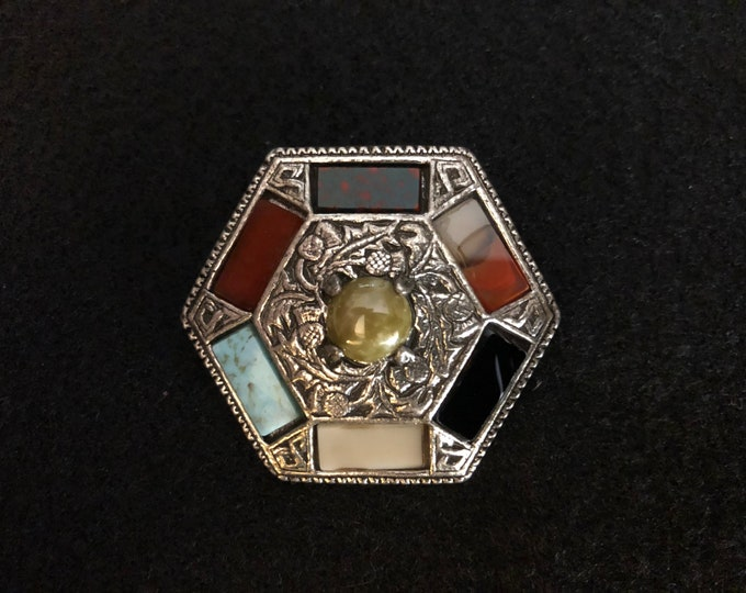 Imported Multicolored Agate Celtic Brooch
