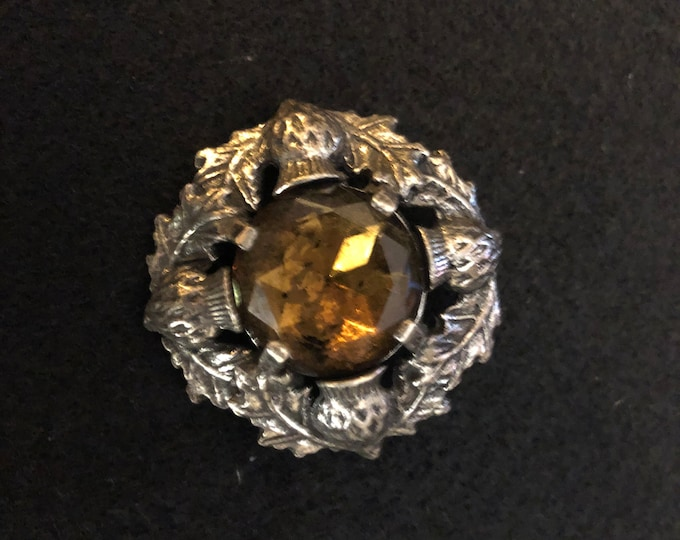 Imported Brown Crystal Thistle Celtic Brooch